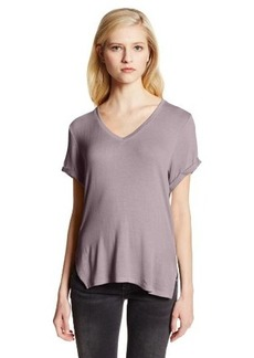 Three Dots Women's V Neck Tee Rolled Sleeves with Raw Edge Slit