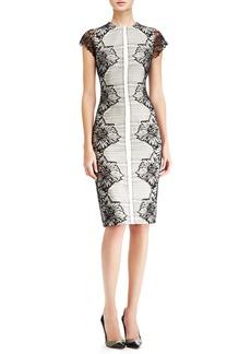 Lela Rose Placed-Lace Sheath Dress