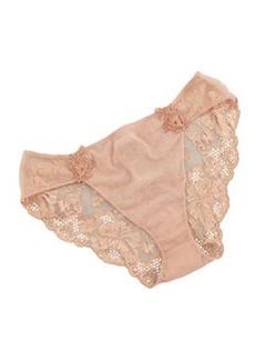 La Perla Lace-Back Mesh Briefs, Nude