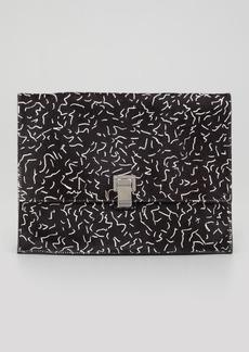 Proenza Schouler Large Printed Calf Hair Lunch Bag Clutch, Black/White