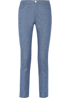 Oscar de la Renta Stretch linen and cotton-blend skinny jeans