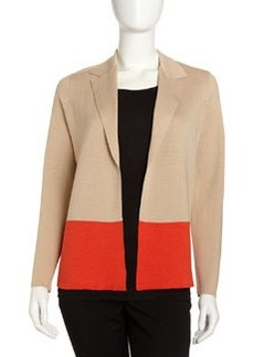 Joan Vass Colorblock Knit Jacket, Khaki/Orange