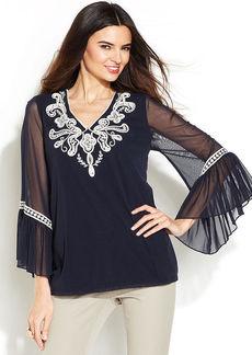 Alfani Petite Bell-Sleeve Embellished Top