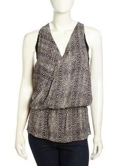 Nicole Miller Jaclyn Sleeveless Leopard-Print Blouse, Black/Khaki
