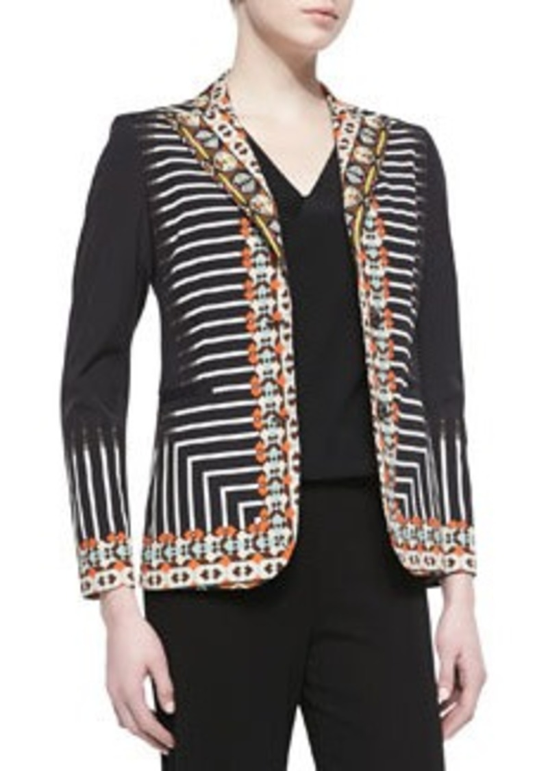 Etro 2-Button Tribal Striped Printed Jacket, Black