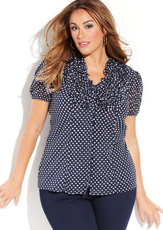 INC International Concepts Plus Size Ruffled Dot-Print Top