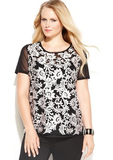 INC International Concepts Plus Size Embroidered Illusion-Sleeve Top