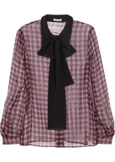 Miu Miu Plaid silk-chiffon blouse