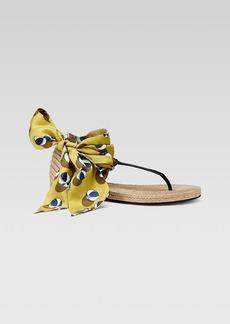 Gucci Carolina Satin Tie Flat Espadrille