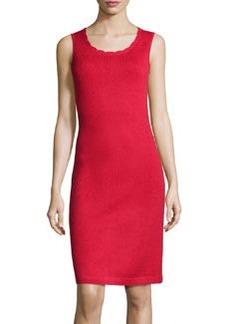 St. John Scallop-Trim Knit Tank Dress, Ruby