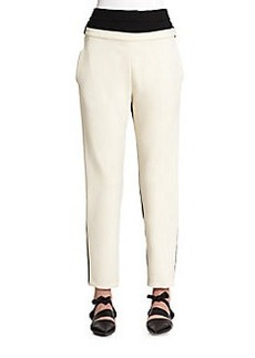Proenza Schouler Colorblock Stretch Wool Ankle Pants
