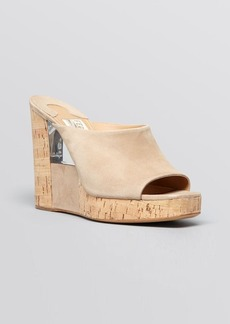 Salvatore Ferragamo Open Toe Slide Platform Wedge Sandals - Perty