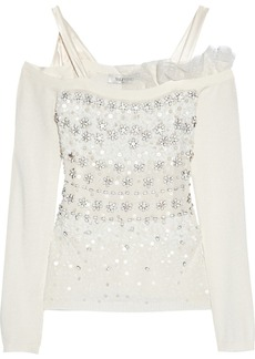 Valentino Embellished fine-knit top