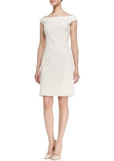 Kay Unger New York Off-Shoulder Reptile Print Sheath Dress, White