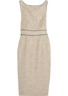 Badgley Mischka Metallic bouclé-tweed dress