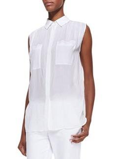Sleeveless Lightweight Button-Front Blouse   Sleeveless Lightweight Button-Front Blouse