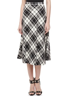 Michael Kors Fairfax Plaid A-line Skirt, Black/Ivory