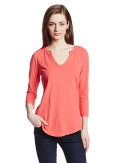 DKNY Jeans Women's 3/4 Sleeve Battenburg Lace Top