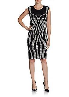 Calvin Klein Cap-Sleeve Graphic Knit Dress
