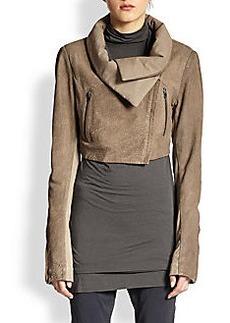 Donna Karan Cropped Jersey-Paneled Suede Jacket