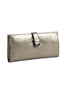 Kooba metallic gold textured leather fold-open continental wallet