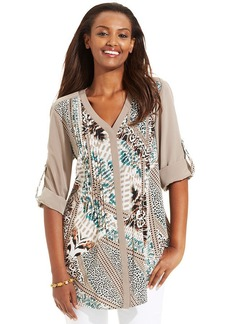 Style&co. Printed Pleated Button-Down Shirt