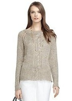 Long-Sleeve Metallic Cable Sweater
