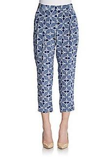 Nieves Lavi Cropped Silk Print Pants