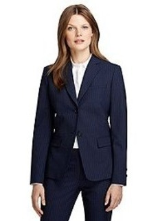 Stellita Fit Two-Button Wool Pinstripe Jacket