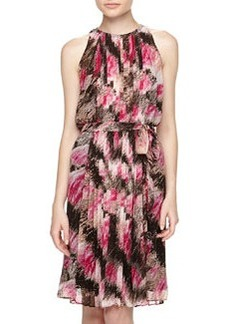 Diane von Furstenberg Ria Sleeveless Floral-Print Pleated Crepe Dress, Pink Wing