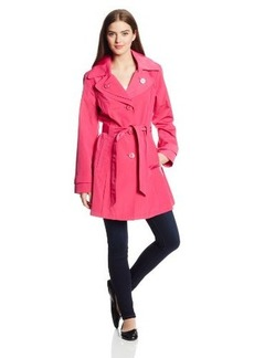 London Fog Women's Single-Breasted Double-Collar Trench Coat