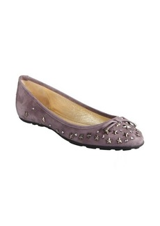 Jimmy Choo dark mauve suede star studded crystal 'Willow' ballet flats