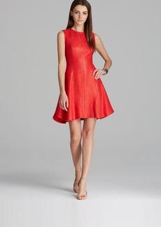 Shoshanna Dress - Naama Metallic Sleeveless Tweed with Flared Skirt