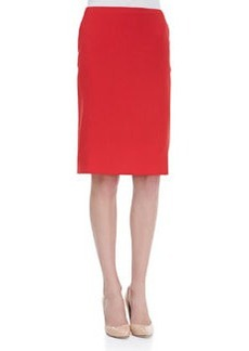 Escada Kick-Pleat Wool Pencil Skirt, Poppy