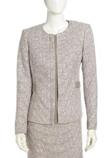 Lafayette 148 New York Tweed Front-Placket Suit Jacket, Mica Multi