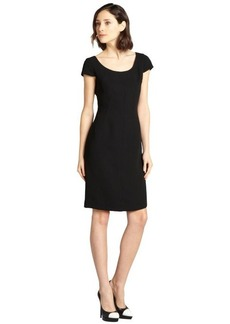 Tahari ASL black stretch crepe cap sleeve dress