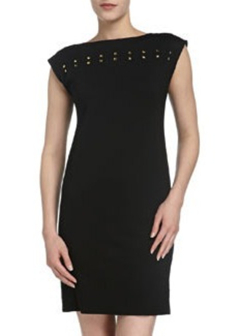 Isaac Mizrahi Ponte Cap-Sleeve Sheath Dress, Black