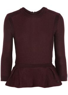 Burberry London Textured-knit peplum sweater