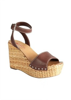 Prada Sport brown leather ankle strap basketweave wedges