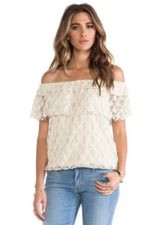 T-Bags LosAngeles Off The Shoulder Lace Top in Cream