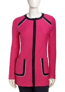 Nanette Lepore Contrast Trim Zip Front Blazer, Pink