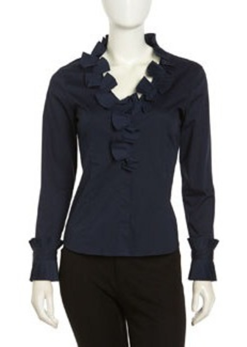 Go Silk Cascading Ruffled Stretch Blouse, Navy