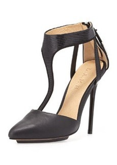 L.A.M.B. Serena Point-Toe T-Strap Pump, Black