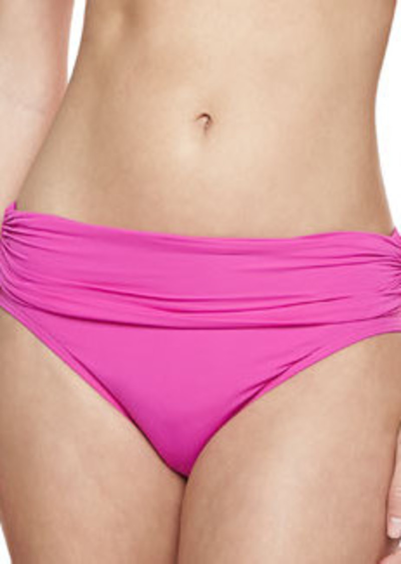 Mediterranean Solids Ruched Swim Bottom, Fuchsia   Mediterranean Solids Ruched Swim Bottom, Fuchsia
