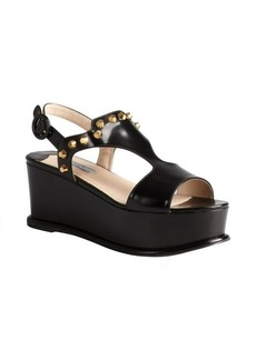 Prada black leather studded platform t-strap sandals