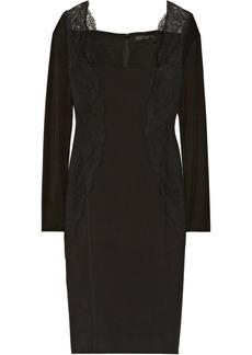 Donna Karan Lace-trimmed cotton-blend and stretch-jersey sheath dress
