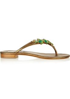 Oscar de la Renta Praz crystal-embellished leather sandals