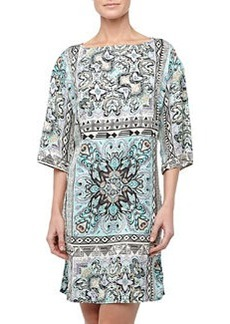 Laundry By Design Bohemian-Scarf Kimono Dress, Blue/Multicolor