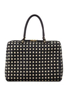 Woven Raffia & Leather Satchel Bag, Black/White   Woven Raffia & Leather Satchel Bag, Black/White