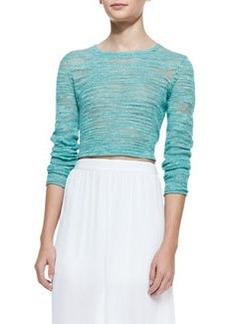 Fallon Sheer-Patch Cropped Sweater   Fallon Sheer-Patch Cropped Sweater